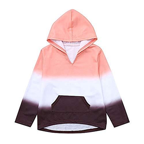 Selou Selou Boy Mädchen Pullover Baby-Farbe Hoodie Schönes lockeres Sweatshirt Rosa schöne Spitze Pocket Farbverlauf Dünner Mantel Mädchen kleider für kinder winterjacke mädchen billige kinderkleidung