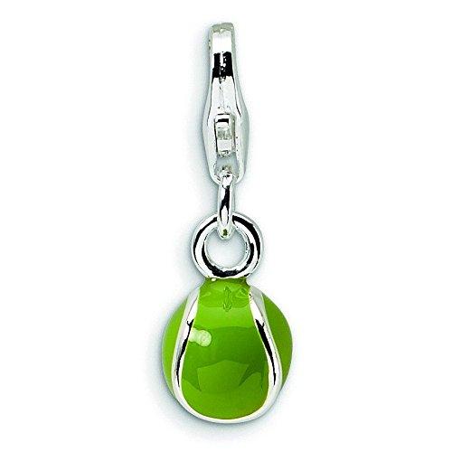 Sterling Silber 3D-Emaille Tennis Ball Charm mit Karabinerverschluss–Maßnahmen 20x 6 (Tennis Ball Charm)