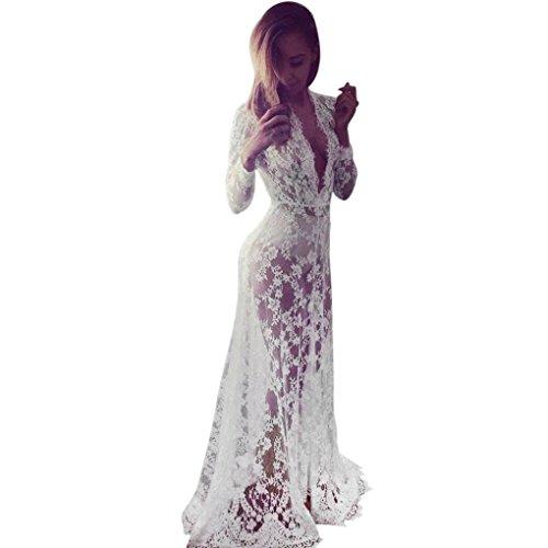 Elecenty Damen Solide Chiffon Bademode Sommerkleid Bikini Vertuschen Badeanzug Kleider Frauen Mode Lose Kleid Minikleid Langarm Kleidung Spitzekleid Strandkleid (M, Weiß)