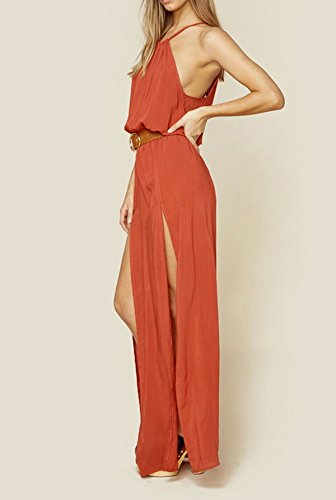 Smile YKK Femme Sexy Robe Longue sans Manches Fente Rouge Rouge