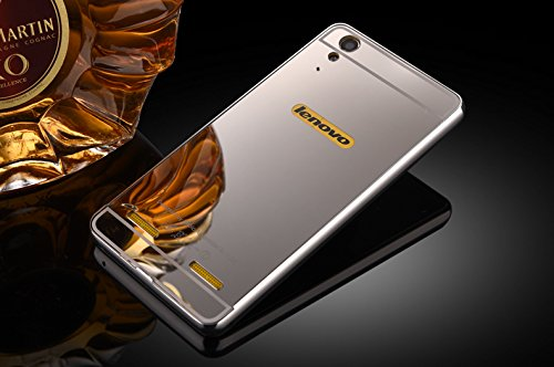 Febelo Branded Luxury Metal Bumper + Acrylic Mirror Back Cover Case For Lenovo A6000 / Lenovo A6000 Plus - Silver Plated