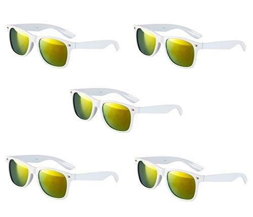 5 er Set Sonnenbrille Sonnenbrillen Weiß Feuer Verspiegelt Top Qualität UV400 M1