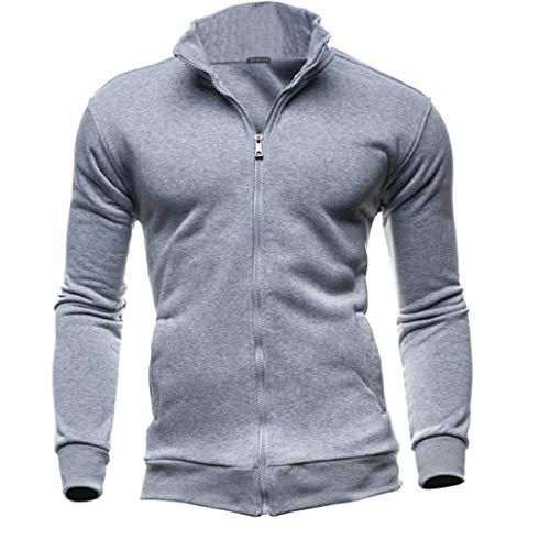 (Herren Strickjacke Cardigan Slim Fit Feinstrick mit Stehkragen Reißverschluss Zipped Jacket Full Zip Up Einfarbig Blank Sweatjacke Outdoor Training Mantel Coat Jersey-Jacke(Grau,EU-54/CN-XL))