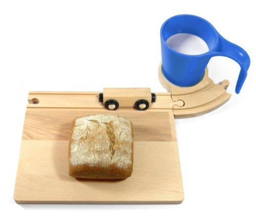 Eisenbahn Frühstücks Set, Eisenbahn Frühstücksset - Brettchen Holzbrettchen Frühstücksbrettchen mit Tasse Schneidebrett Vesperbrettchen für Kinder (blau)