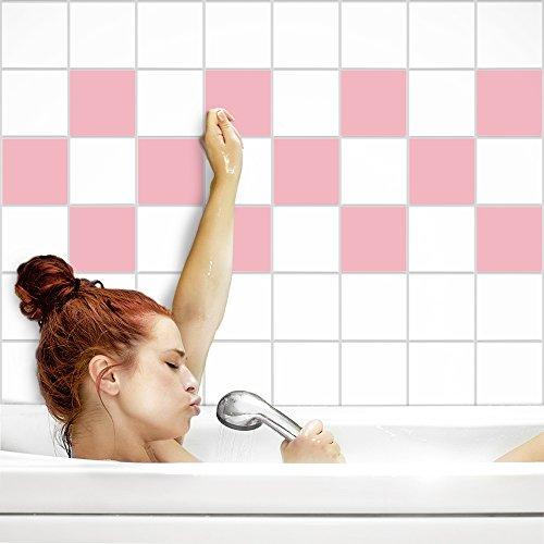 Fliesenaufkleber für Küche und Bad | Fliesenfolie für 15x15cm Fliesen | einfarbig pastell-rosa matt | 52 Stück | Klebefliesen günstig in 1A Qualität von PrintYourHome