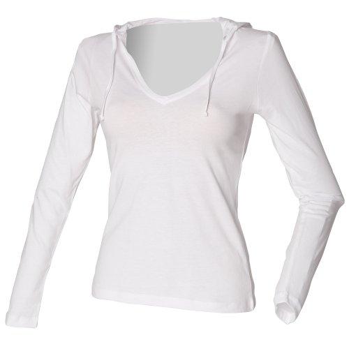 Skinni Fit Damen Kapuzen-Longsleeve / Kapuzen-Shirt mit V-Ausschnitt (Lange Länge) (Medium) (Weiß) (Kapuzen-shirt Weißes)