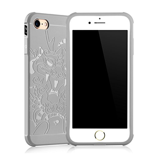 """Gukas Housse Coque Gel Silicone Case Cover Pour Apple iPhone 7 / iphone 8 4.7"""" TPU Ultra Slim Soft Rubber Shock Absorber Flexible Bumper Protective Etui (Gris) Dragon Gris"""