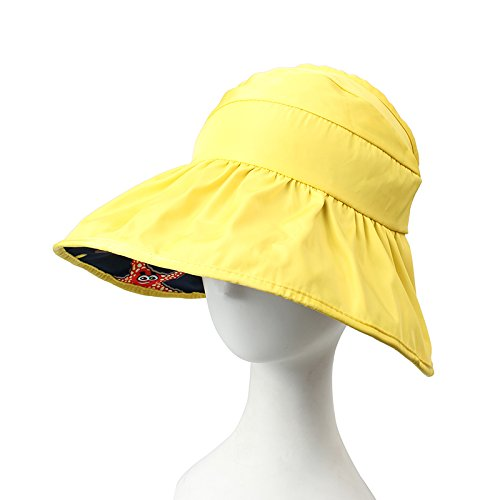 Zhangyong * estate bambini visiera UV vuoto top Sun cappello lungo la Sandy cappello da sole estate uomini e donne Children's Edition - bright yellow navy blue