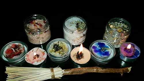 6 x Dressed Spell Kerzen und 3 x 50 ml Badesalz Geschenkset Geschenk, Motiv: Hexe, Glücksschutz und Schlaf - Hexe Kraut