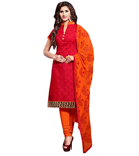 Applecreation Women Chanderi Print Dress Material(BND14006_Orange_Free Size)