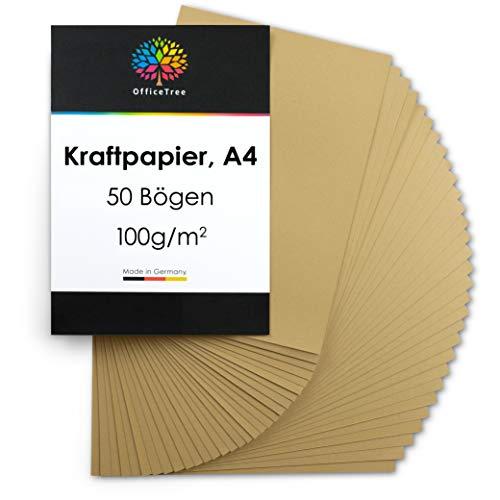 OfficeTree Kraftpapier A4 Kartonpapier 50 Blatt - Braunes Papier 100g/m² Qualität - Kartenpapier hochwertig zum Basteln, Schreiben, Drucken