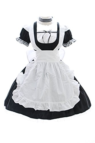 JL-576-0 schwarz Maid Zimmermädchen Anime Zofe Gothic Lolita Kleid Kostüm Set dress Cosplay (EUR (Gothic Kleid Maid)