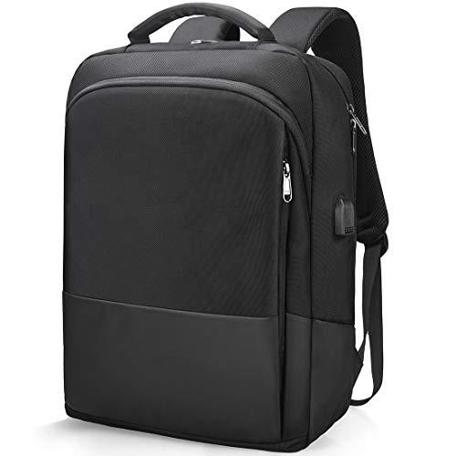 Zaino Porta PC Portatile per Lavoro Uomo 15 Pollici Impermeabile Borsa Zaini da Notebook Laptop Scuola Viaggio Affari USB 15,6 Pollici Nero