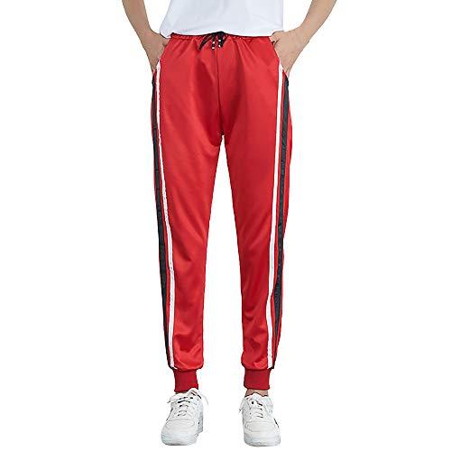 YWLINK Damen Mittlere Taille LäSsiger Gestreifter Druck Beam Fuß Freizeithosen Sporthosen Haremshose Jogger Hose(M,Rot b)