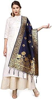 Sutram Women's Banarasi Blue Silk Dup