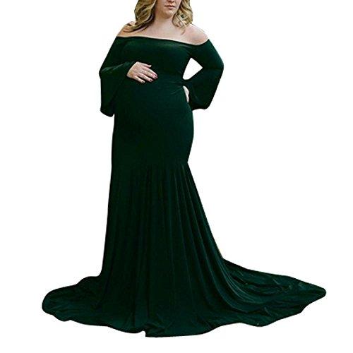 Mujeres Embarazadas Sexy Fotografía Props Off Shoulders Vestido largo mangas acampanadas Vestido largo de enfermería para bebés de maternidad retro LMMVP (M, Verde)