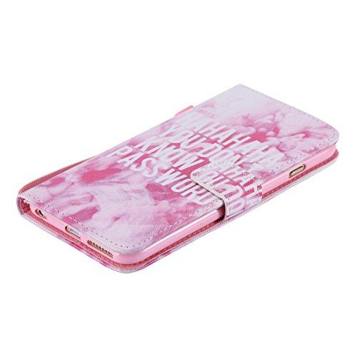 Ekakashop Apple iPhone 6 Plus/6s Plus 5,5 Zoll Hülle (Weiß), iPhone 6s Plus Tasche mit Taljereep, Zeichnung Drucken Katzen und Baum Muster Bunte PU Leder Schutzhülle Tasche Hüllen Magnetverschluss Han Rosa Wolken