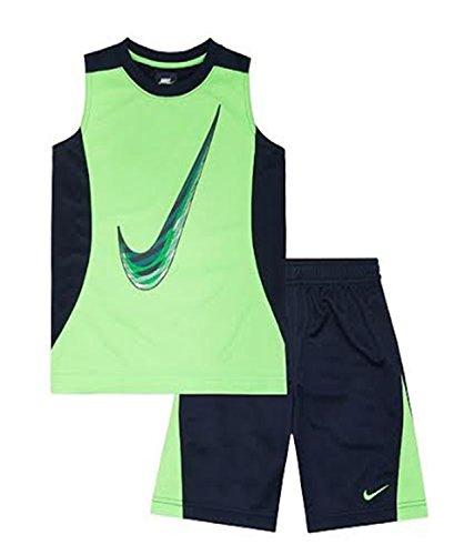 Nike Baby Jungen 2-teiliges Swoosh Muscle Shirt & Shorts Set, Jungen, Schwarz, 4