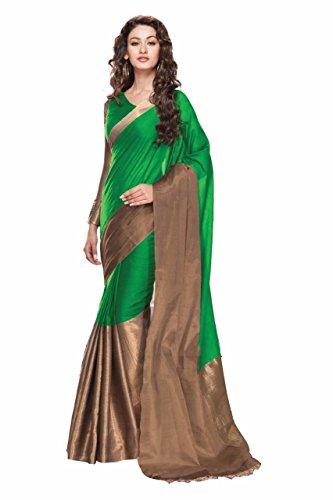 Active Women's Kota Silk Fabric Saree (Free Size_Green)