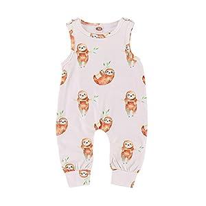 PLOT Baby Girls Boys Romper Cartoon Print Sleeveless Strap Jumpsuit Outfits 0-2 T