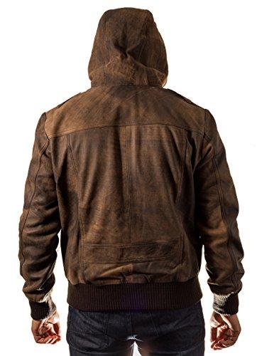 Vera Pelle Vintage Classic Bomber elegante maglia con cappuccio da uomo annata marrone
