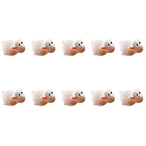 Cratone Miniatur-Schaf-Figuren für den Garten, Bonsai-Ornamente, Puppenhaus, Mikro-Landschaftsdekoration, 10 Stück, weiß, 1.6 * 2.1cm