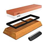 Sharpening Stone 2-in-1 Knife Sharpener Cote 1000/6000 Grit Combining Professional Knife Sharpener -Bilateral with Anti-slip Rubber Support and Bamboo Base with Corner Guide Corundum