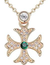 8ef5b8294763 Crystals from Swarovski Esmeralda simulada verde Cruz de Malta Collar con  colgante 18k Chapado en oro para…