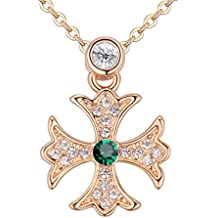 Chapado en oro 18 ct Esmeralda Crystals from Swarovski collar con colgante de cruz, diseño de Malta nuevo