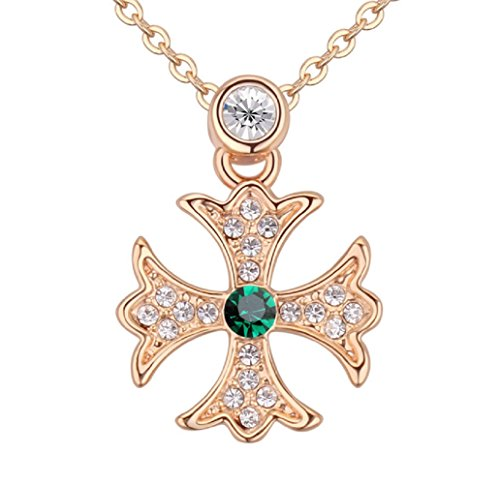 18-ct-gold-plated-simulated-emerald-crystals-from-swarovski-malta-cross-pendant-necklace