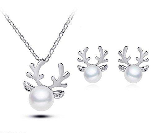 Cdet Damen Halskette Woman Necklace Rentier Perle Hals Anhänger Halskette Ohrringe Set Ornamente...