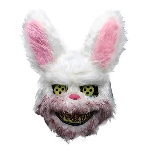 Kostüm Bunny Scary - Gfhjgjhj Weiß Häschen Blutig Maske, Simulation Tier Bunny Kopfbedeckung Party Gruselig Scary für Halloween Party Kostüme Cosplay Kostüm Masken