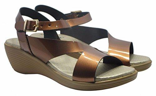 Sammy bride cheville Sandale bout ouvert chaussures de sport des femmes élégantes de l ' Cuivre
