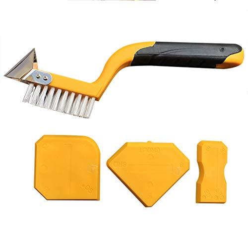 Silikonentferner Fugenwerkzeug silikon Set JTENG Fugenabzieher 3 Fugenglätter, Fugenmesser und Fugenbürste für Silikon und Fliesen - Silikon und Fugen Reparatur Werkzeug für Badezimmer Küche