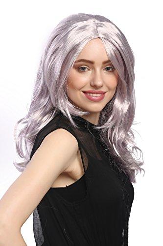 Wig me up ® - 91337-za68a-za50 parrucca donna carnevale halloween lunga voluminosa mix di grigio argento e viola chiaro grigio lilla ondulata riga in mezzo