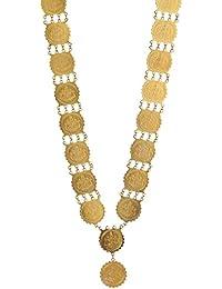 Zeneme Lakshmi Gold-Plated Temple Coin Necklace Set For Women