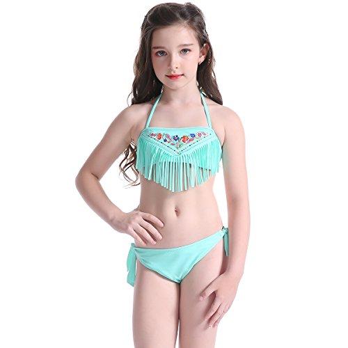 Centrawin Mädchen zwei Stück hübsch Floral mit Quaste Neckholder Schwimmen Kostüm Bademode Tankini Set Beachwear (Tankini Nylon-zwei Stück)