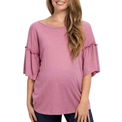 Damen Bluse, Beikoard Frauen Schwanger Tops Flare Ärmel Pflege Bluse Baby Für Mutterschaft T-Shirt Reine Farbe Horn Hülse Rundhals schwangere Frau Bluse (Rasa, M)