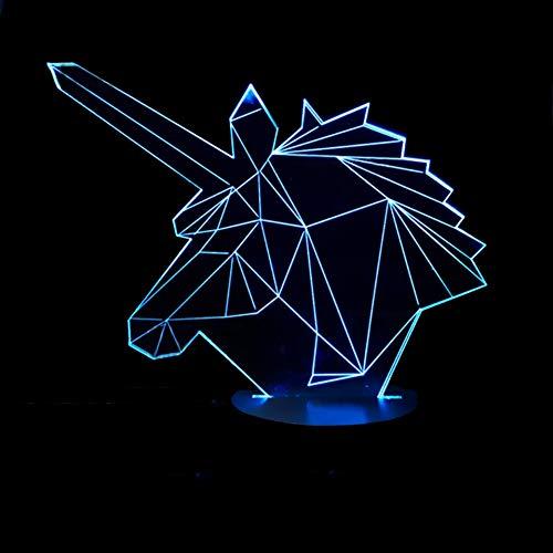 WZYMNYD Kid Schlafzimmer Beleuchtung Dekor Touch 3D Abstrakte Einhorn Modellierung Führte Schreibtischlampe Taste USB Tier Luminaria Home Decor Nachtlichter (Kid Schlafzimmer-beleuchtung)