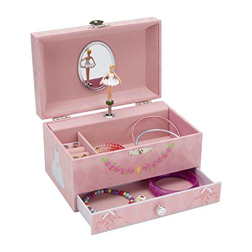 JewelKeeper Diamant Ballerina Spieluhr Schmuckschatulle mit Ausziehfächern, Schmuckschatulle - Schwanensee Melodie