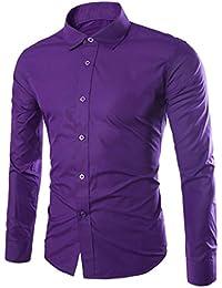 Elonglin Hommes Chemise d'Affaires Classique Manches Longues Couleur (sans cravate)