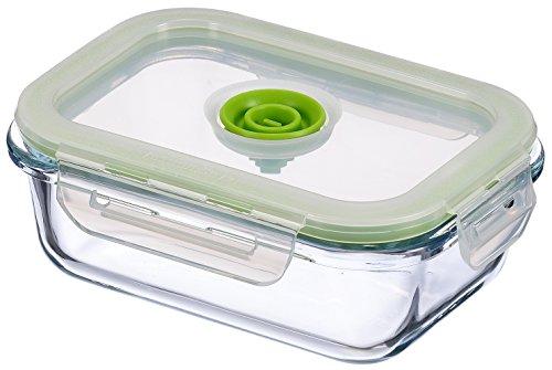 Vacuumsaver Tupper al Vacío Rectangular, Plástico y Cristal, Transparente y Verde, 11x5.75x15 cm
