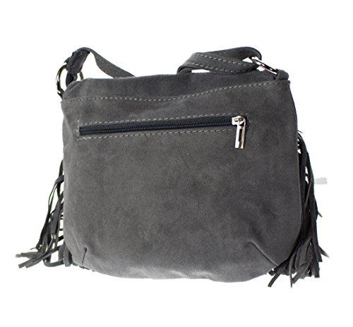 Tasche In Pelle Scamosciata Da Donna In Vera Pelle Con Tracolle A Frange Borse A Spalla (grigio) Grigio