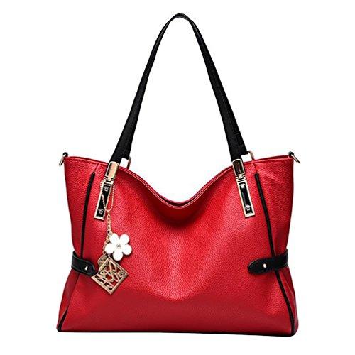 Sentao Donna Borsa a Spalla Handbag Grande Capacità PU Cuoio Borsetta Borse A Mano con Metallo Decorazioni Vino Rosso
