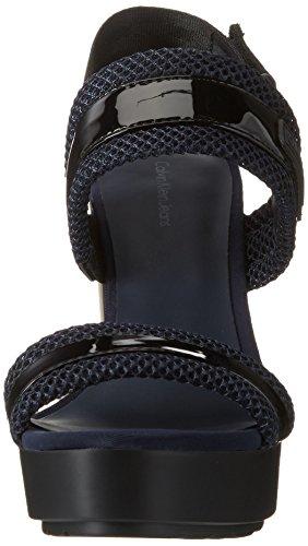 Calvin Klein Jeans Damen Lalita Patent/Mesh Offene Sandalen mit Keilabsatz Schwarz (Bli)