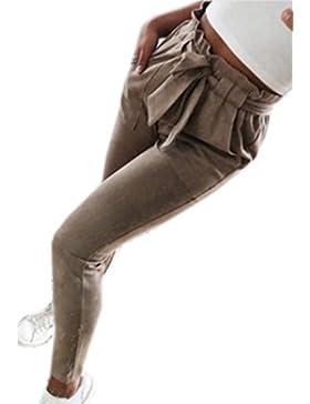 Youngirt Primavera Mujeres Moda Slim Trousers Pitillo Oficina Casual Vendaje Nueve Puntos Pantalón