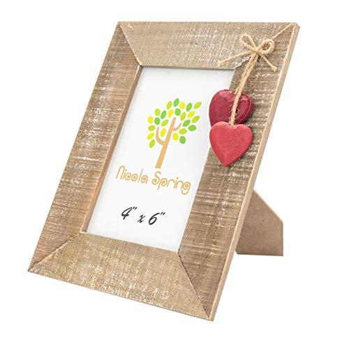 Nicola spring, cornice portafoto, in legno, con cuori rossi, da 10 x 15 cm
