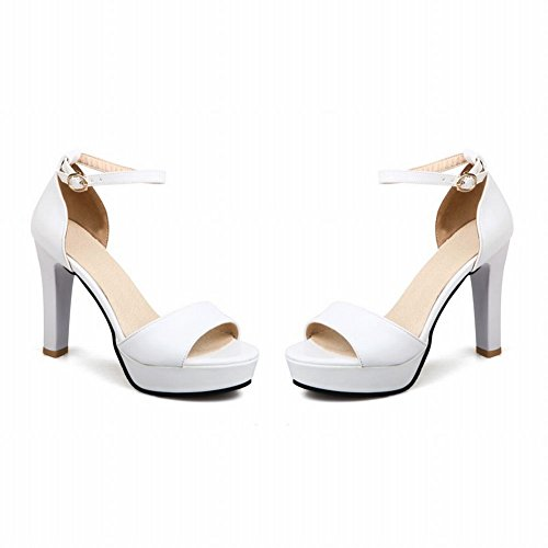 Mee Shoes Damen high heels ankle strap Schnalle Sandalen Weiß