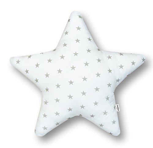 AMI Lian® Cojín Estrella estrellas blanco (A3)–Cojín (tejido de rizo Zambaiti aprox. 60cm