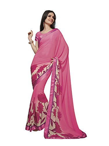 Subhash Sarees Baby Pink Color Georgette Printed Saree  available at amazon for Rs.1331